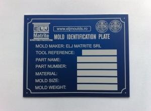 etichete metalice - matrite albastru